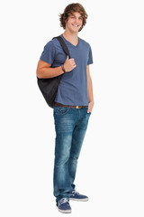 Smiling male student with a backpack