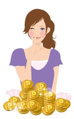 女性とコイン