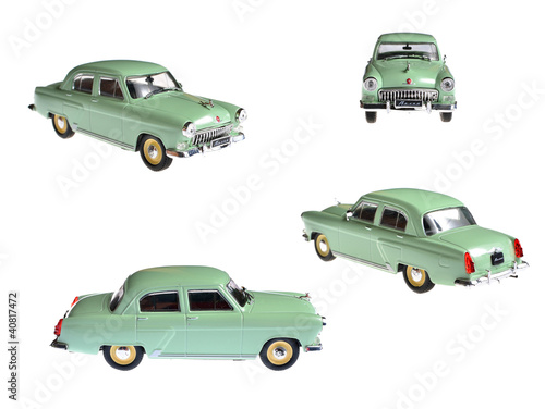 collage of scale model of soviet Gaz-21 Volga retro car isolated