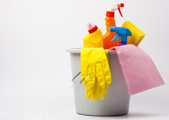 Plastic bucket with cleaning supplies