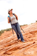 Woman exploring the desert