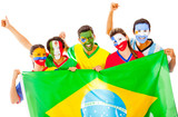 Latin group with Brazilian flag