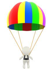 3D man with a parachute