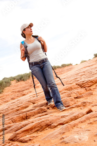 Woman exploring the desert