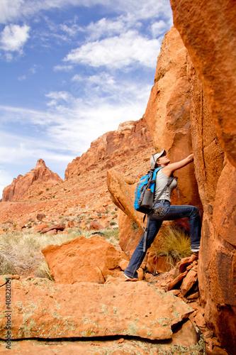 Female explorer at the desert