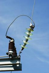 Insulators on a high voltage electric pillar