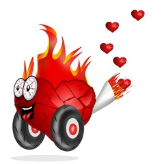 cuore in fiamme che scappa