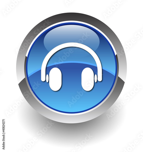 headphone blue button