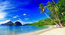 Panorama schönen Strand Landschaft - El-Nido, Palawan