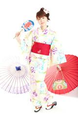 Beautiful kimono woman. Portrait of asian woman.