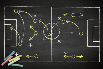 soccer game strategy drawn with chalk on a blackboard. © kromkrathog