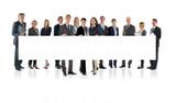 Business Team mit Plakat