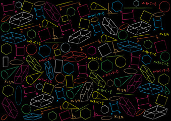 vector background with geometric figures on blackboard
