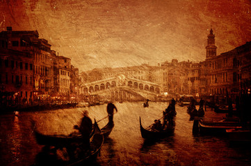 Textured image of Grand Canal and Rialto Bridge in Venice.