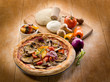 vegetarian pizza with ingredients