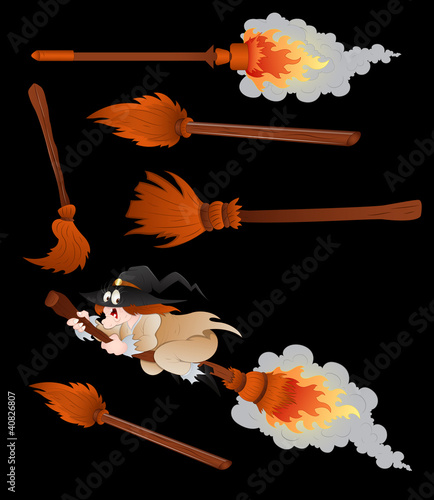 Witches Broomsticks Vector
