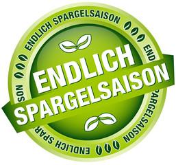 """Button Banner """"Endlich Spargelsaison"""" grün"""