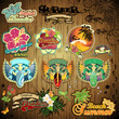 Set tropical beach stickers