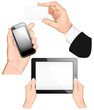 Set of hands holding business card, pc tablet,  mobilephone.