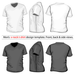 Men's V-neck t-shirt design template