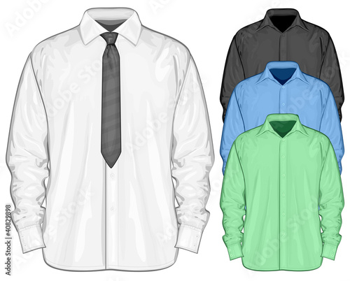 Vector illustration of dress shirt (button-down) with neckties