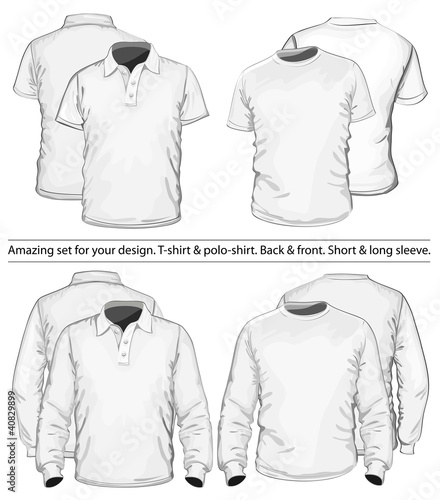 Amazing vector set. Men's polo-shirt and t-shirt