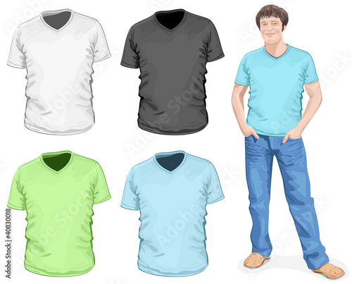Men's v-neck t-shirt design template (front view)