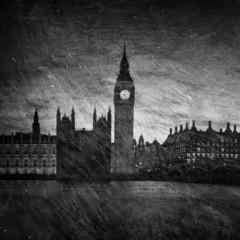 Gloomy textured image of Houses of Parliament in London