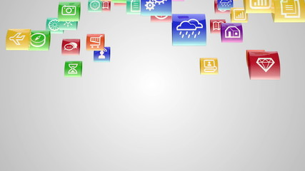 mobile apps icons fly transition with alpha