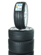 Isolated set of low profile summer tyres with quality label