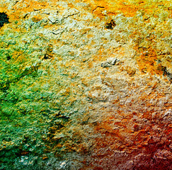 Rust background under a layer of clay with shades of green, red,