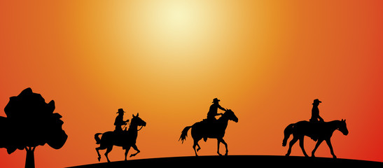 Vaqueros cabalgando
