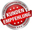 """Button Banner """"Kundenempfehlung"""" rot/silber"""