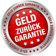 """Button """"Geld zurück Garantie"""" rot/silber"""