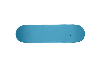 A blue skate board on a white background