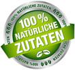 """Button Banner """"100 % natürliche Zutaten"""" grün/silber"""