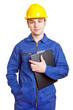 Arbeiter mit Blaumann und Helm