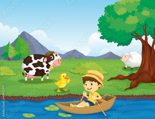 Papiers peints Riviere, lac Farm scene