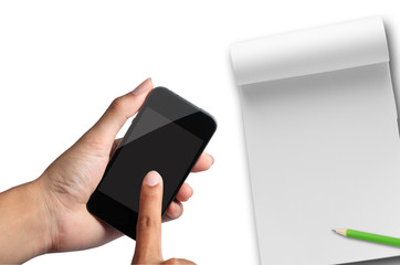 hand pressing smartphone with note paper.