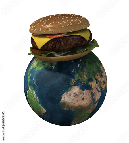 world with hamburger