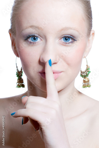 Closeup portrait of beautiful woman & silence, isolated on white