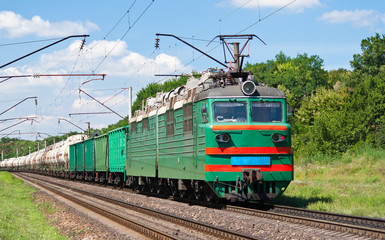 Electric locomotive pushing a cargo train