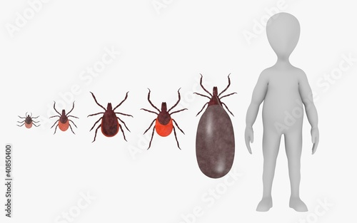 3d render of cartoon character with tick animal