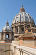 Architectural detail of San Pietro basilica's roof in Vatican