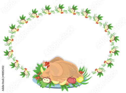 Oval frame with turkey