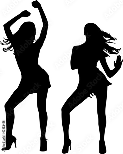 Silhouettes of dancing women