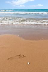 Fußabdruck am Strand