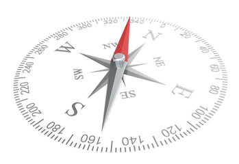 Compass dial. Compass dial of steel. White background.
