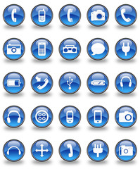 Tech & Communication Glossy Button Set