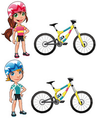 Baby Cyclists. Vector characters. Isolated objects